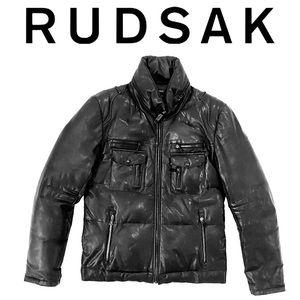RUDSAK leather down filled puffer jacket i…